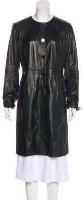 Tory Burch Leather Knee-Length Coat