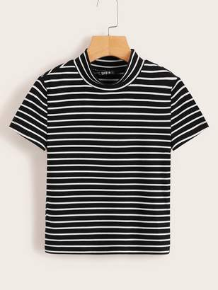 8cebe67f2fbf0f Black And White Stripe Fitted Shirt For Women - ShopStyle