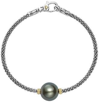 Lagos 18K Gold and Sterling Silver Luna Cultured Tahitian Pearl Single Station Bracelet