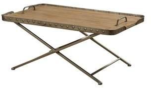 Generic Natural Wood Top Folding Coffee Table - Antique Gun Metal