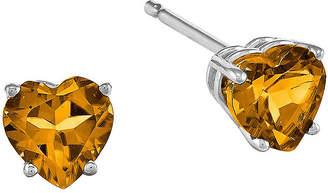 FINE JEWELRY Genuine Citrine 14K White Gold Heart-Shaped Stud Earrings