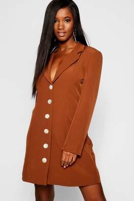 boohoo Shell Button Blazer Dress