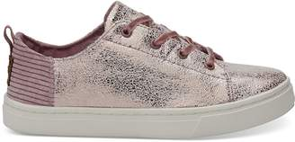 Lavender Crackle Foil Corduroy Youth Lenny Sneakers