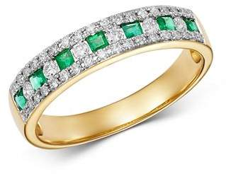 Bloomingdale's Emerald & Diamond Single Band Ring in 14K Yellow Gold - 100% Exclusive