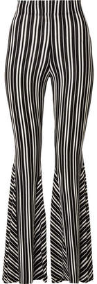 Beaufille - Lamos Striped Ribbed Stretch-knit Flared Pants - Black
