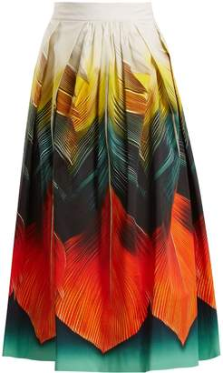 Mary Katrantzou Bowles Folk-print cotton-poplin midi skirt