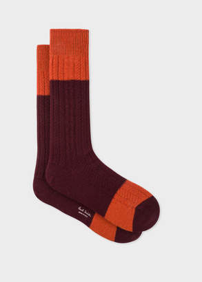 Paul Smith Men's Burgundy Colour-Block Cable Knit Wool-Blend Socks
