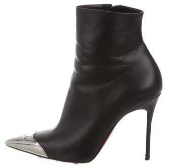 Christian Louboutin Christian Louboutin Leather Cap-Toe Ankle Boots