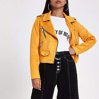 River Island Petite orange faux suede biker jacket