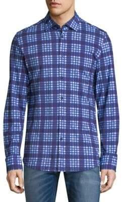 Stone Rose Plaid Cotton Button-Down Shirt