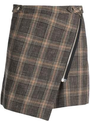 Vanessa Bruno Checked Wool And Cotton-blend Mini Skirt