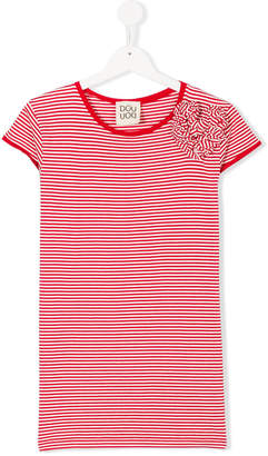 Douuod Kids front appliquée striped T-shirt
