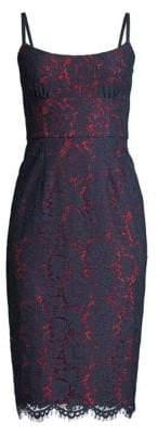 BCBGMAXAZRIA Women's Two-Tone Lace Bustier Dress - Dark Navy - Size 10