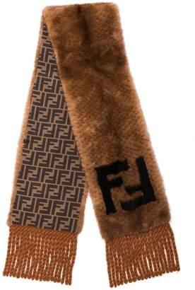 Fendi brown and black FF logo mink scarf