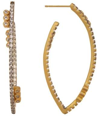 Freida Rothman Baroque Blues CZ Accent Marquise 45mm Hoop Earrings