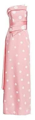 Rubin Singer Women's Strapless Polka-Dot Column Gown