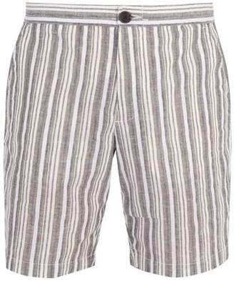 Oliver Spencer Striped Cotton And Linen Blend Shorts - Mens - Green