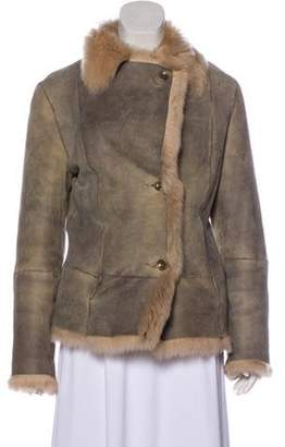 Autunno Shearling-Trimmed Suede Coat Grey Shearling-Trimmed Suede Coat