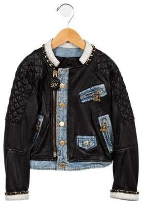 DSQUARED2 Girls' Denim-Accented Leather Jacket