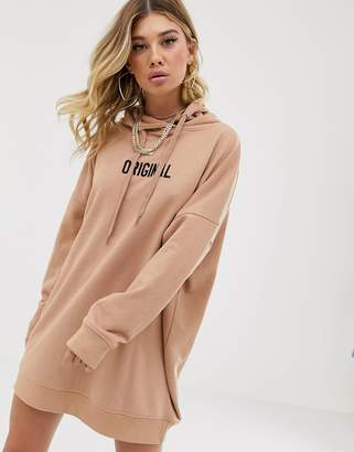 Public Desire oversized hoodie dress with original embroidery