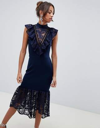 Asos Lace Bib Bodycon Pephem Midi Dress