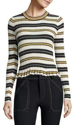 Derek Lam 10 Crosby Ruffled Striped Rib-Knit Sweater