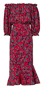 Saloni Grace Off-The-Shoulder Dress $625 thestylecure.com