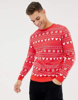 Asos DESIGN christmas sweatshirt with mickey fairisle print