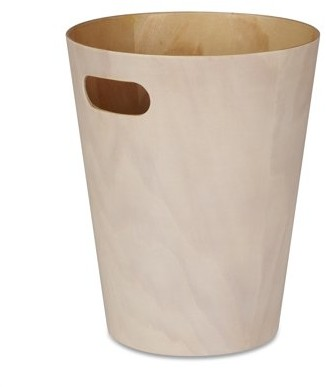 Umbra Woodrow Trash Can Duo-Tone Wood Wastebasket Garbage Can for Office, Study, Bathroom, Living Room, Powder Room and More, 2 Gallon/7.5 L, White