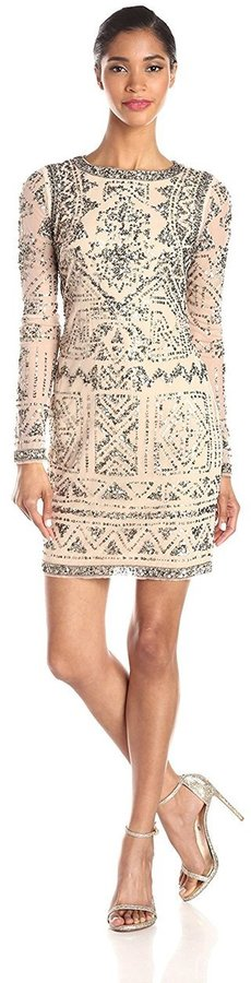 Adrianna PapellAdrianna Papell - Diamond Cutout Long Sleeve Cocktail Dress 41907420