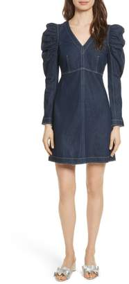 Rebecca Taylor Ruched Sleeve Denim Dress