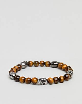 Simon Carter Tigerseye Bracelet With Antique Silver Skull Charms