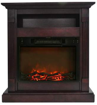 Cambridge Silversmiths Sienna 34 Electric Fireplace With 1500W Log Insert and Mahogany Mantel