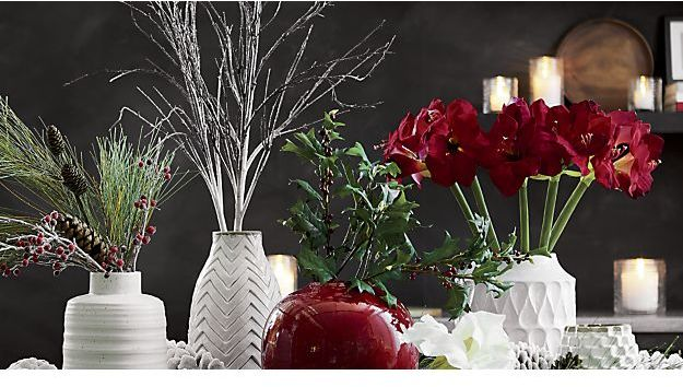 Crate & Barrel Red Amaryllis Flower Stem