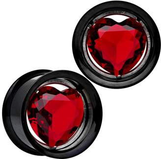 Body Candy Red Heart Black Anodized Titanium Internally Threaded Plug Set 3/4""