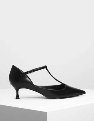 Charles & Keith Embellished T-Bar Heels