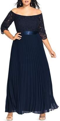 City Chic Plus Off-the-Shoulder Lace-Bodice Gown
