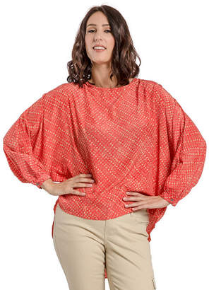 MISS HALLADAY Womens Satin Woven Quail Egg Print High-Low Blouses Batwing Sleeve