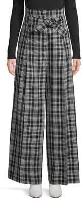 Max Mara Cina Plaid Wide-Leg Pants