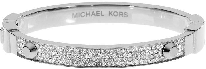 Michael Kors Pave Hinge Bangle, Silver Color