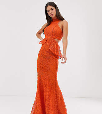 0435cc2ac Asos Tall DESIGN Tall high neck lace maxi dress with cut outs and fishtail  hem