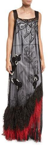Marc JacobsMarc Jacobs Feather-Hem Sleeveless Lace Gown, Black