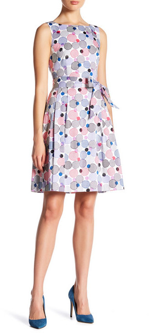 Anne Klein Anne Klein Optical Printed Fit And Flare Dress