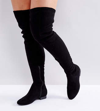 426541a3fdf Asos Design KASBA Wide Fit Flat Over The Knee Boots