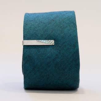 Blade + Blue Vintage Silver Tone Blocked Tie Clip