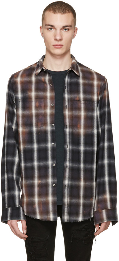 Amiri Black Spray Plaid Shirt