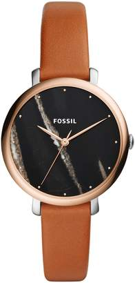 Fossil Jacqueline Stone Dial Leather Strap Watch, 36mm