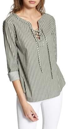 Sanctuary Tommie Lace-Up Stripe Shirt