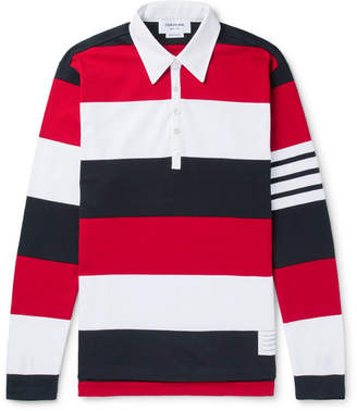 Thom Browne Striped Cotton-Jersey Polo Shirt