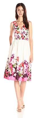 Donna Morgan Women's Sleeveless Cotton Sateen V-Neck Dress Full Skirt